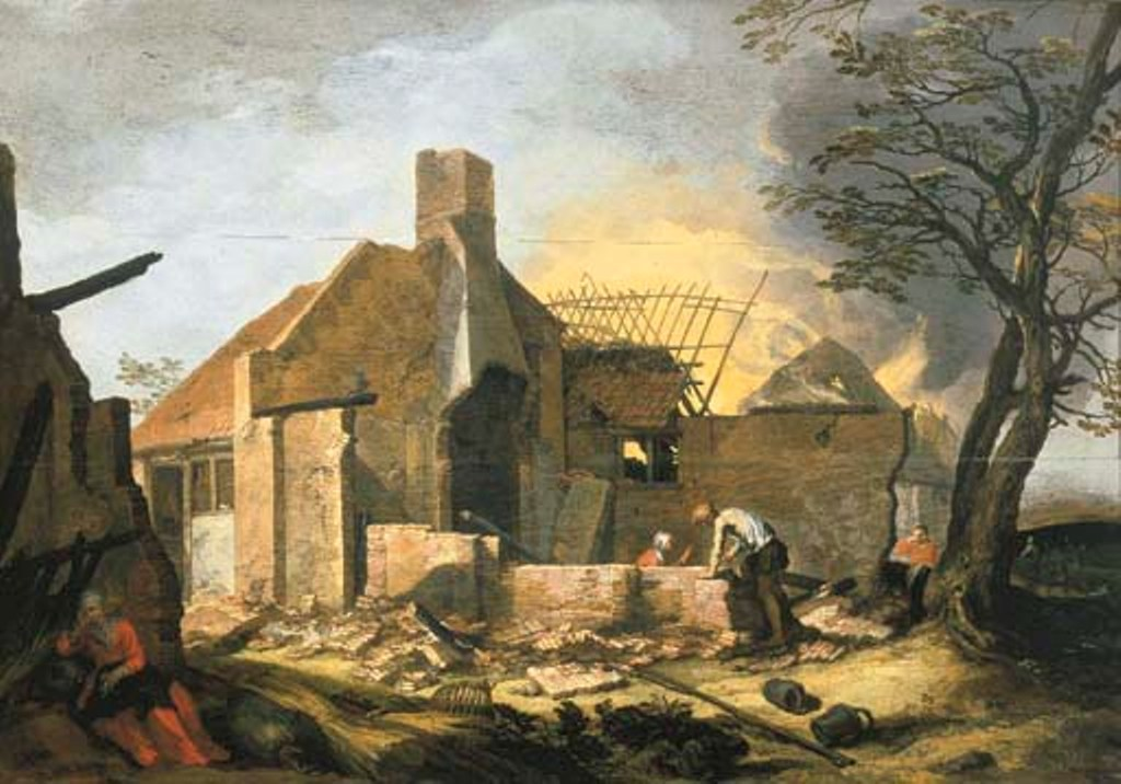 Bloemaert-A-landscape-with-farm-buildings-on-fire