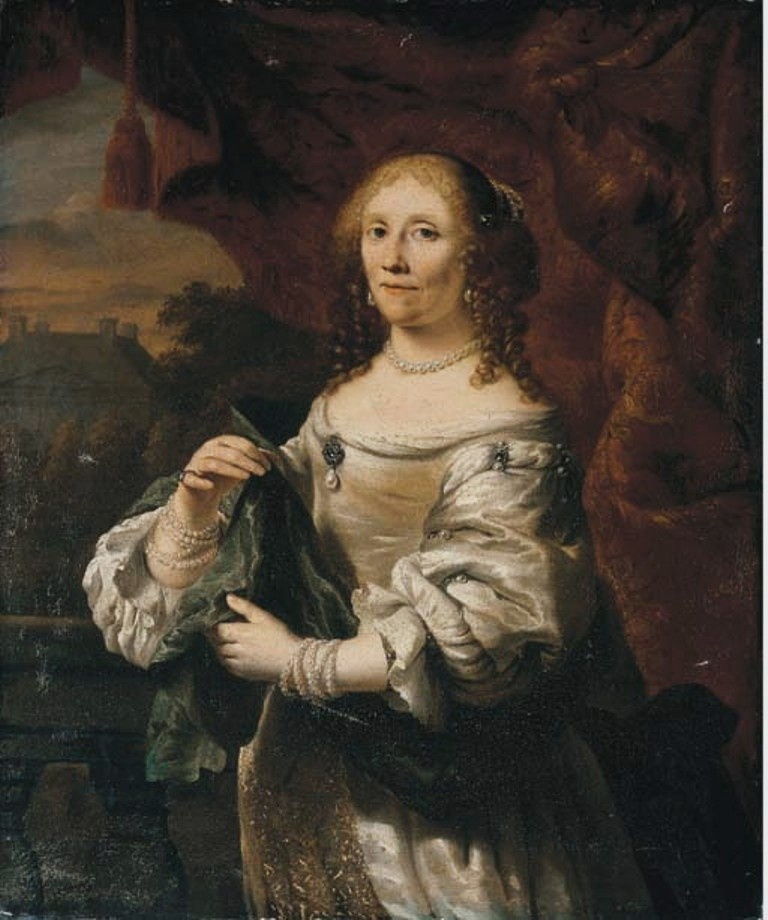 Bol-Portrait-of-a-lady-half-length- in-white-satin-dress