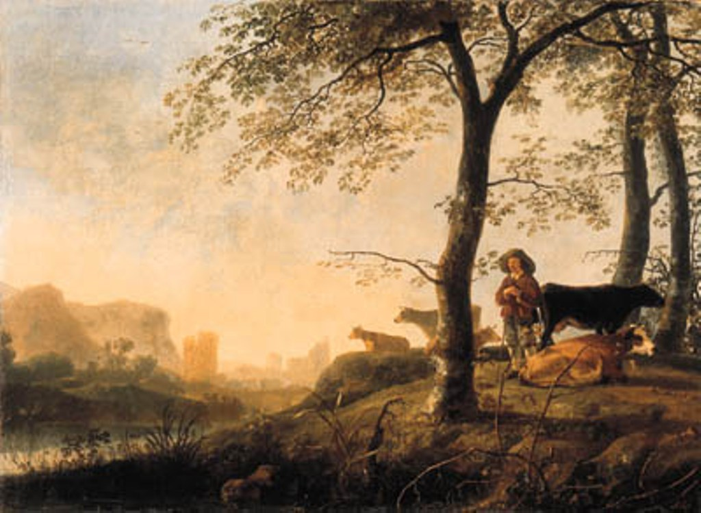 Calraet-An-evening-river-landscape-with-cowherd-and-cows
