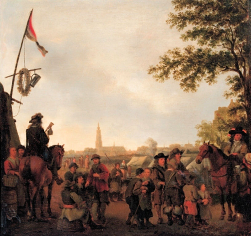 Calreat-Officers-and-townsfolk-at-encampment-outside-Breda