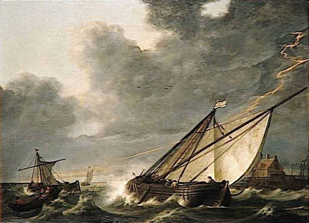 Cuyp-Albert-Boats-on-estuary-of-Hollands-Diep-river-caught-in-thunderstorm