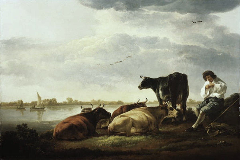 Cuyp-Albert-Cows-and-Herdsman-by-River