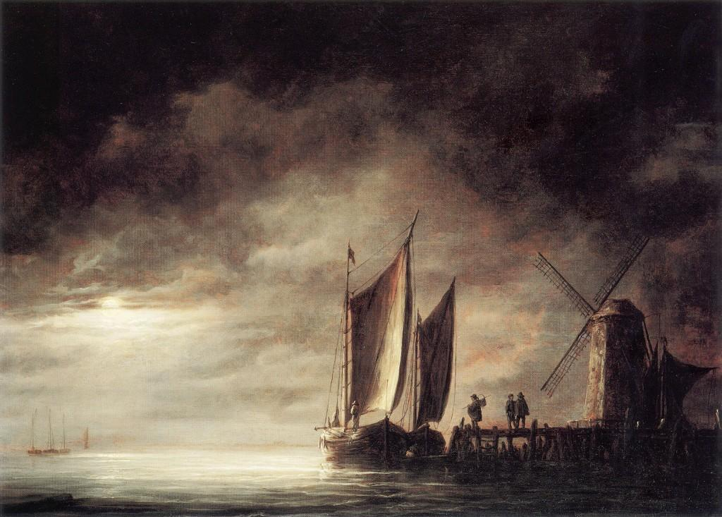 Cuyp-Albert-Dordrecht-Harbour-by-Moonlight