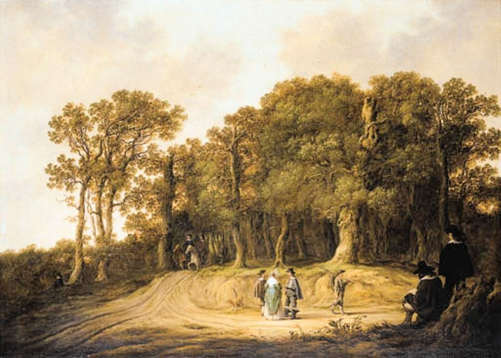 Cuyp-Albert-Gentlemen-and-Lady-on-Track-at-Edge-of-Wood