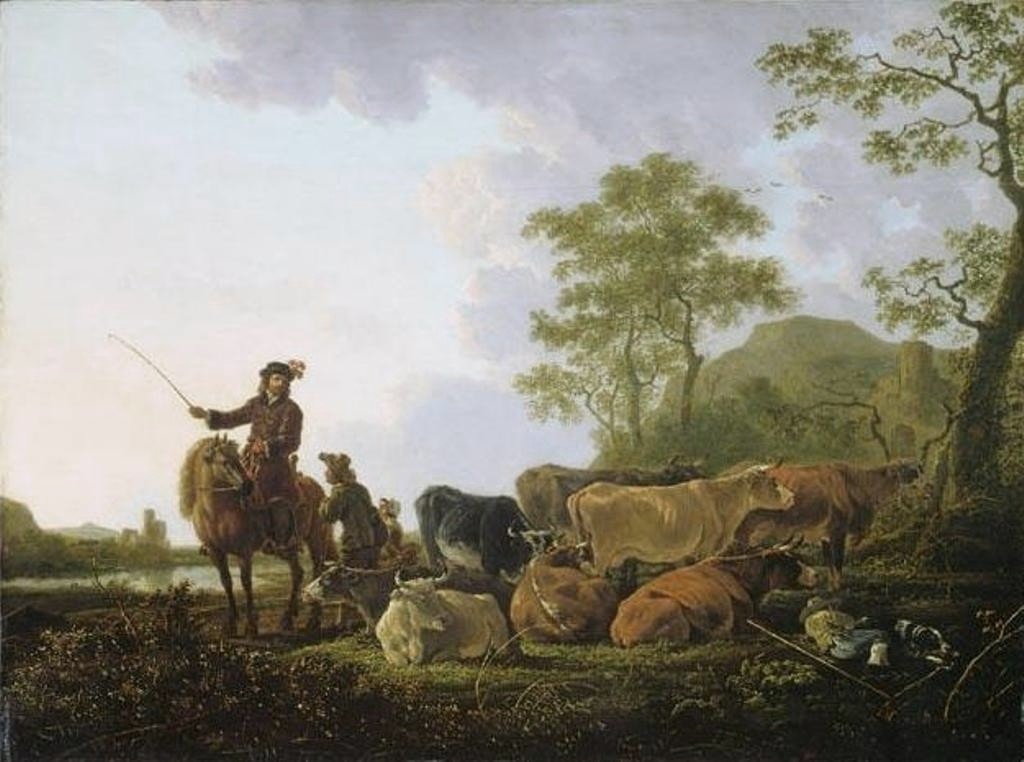 Cuyp-Albert-Herd-of-Cows-with-Herdsman-and-Rider