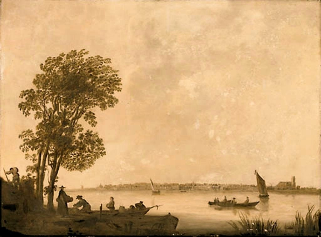 Cuyp-Albert-River-Landscape-with-Peasants-unloading-Barge-Dordrecht-beyond