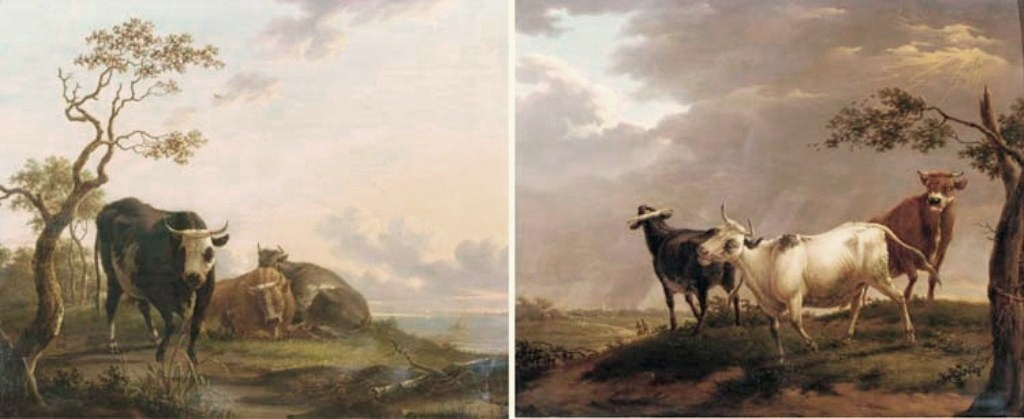 Dongen-Three-cows-resting-in-wooded-landscape-sailing-vessels-in-distance