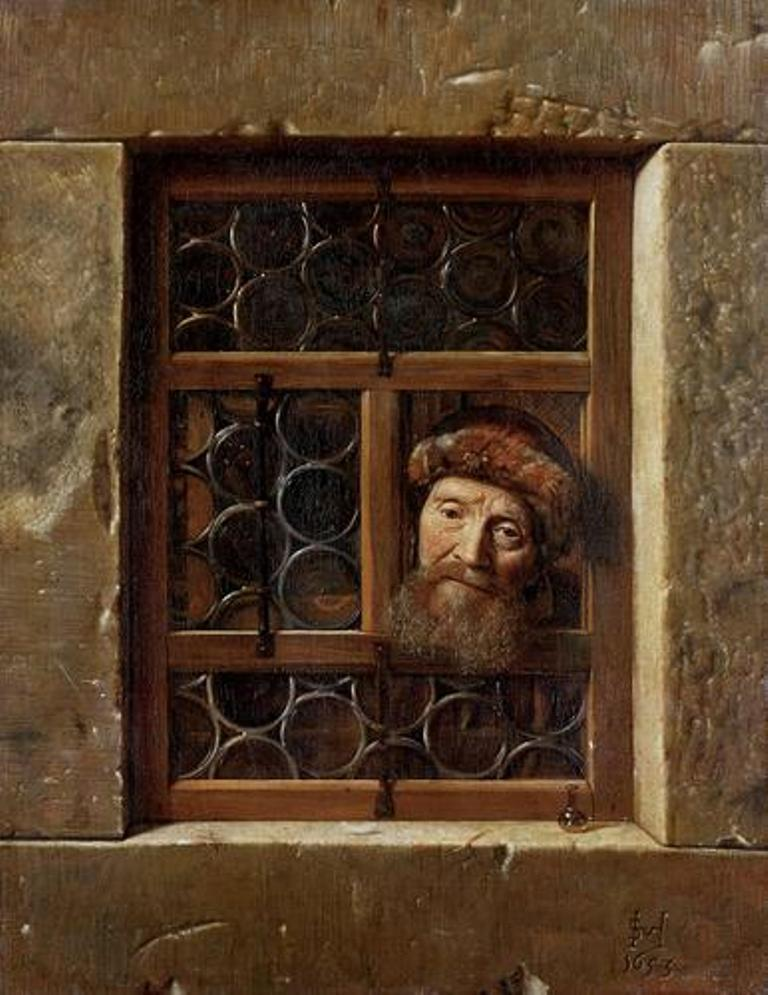 Hoogstraten-Old-man-looking-through-the-window