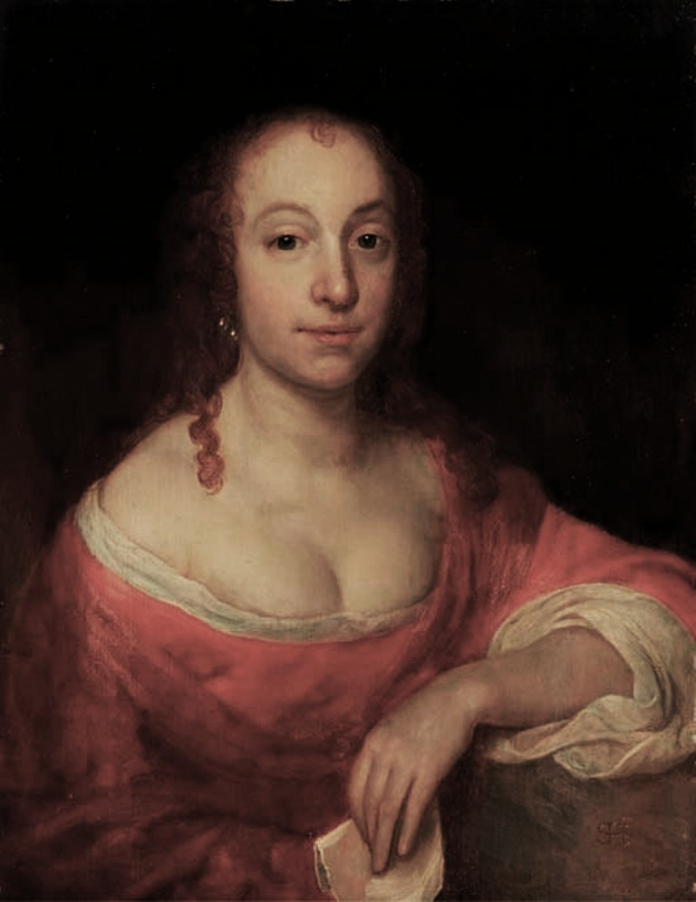 Hoogstraten-Portrait-of-lady-half-length-in-a-red-and-white-dress