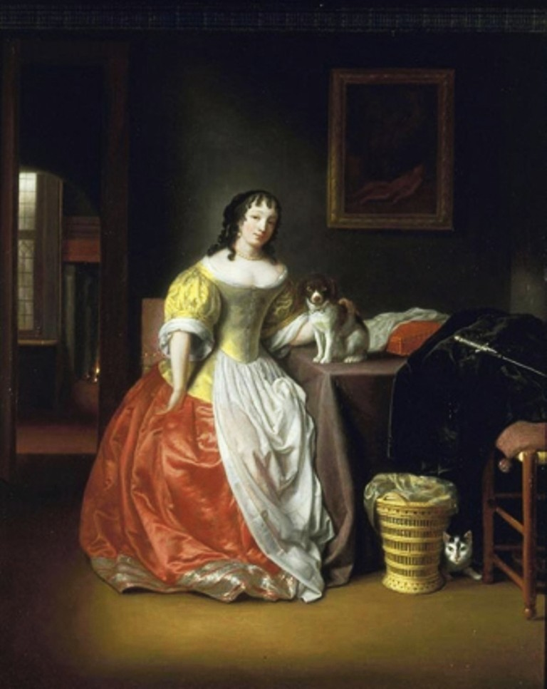 hoogstraten-Interior-with-woman-and-dog