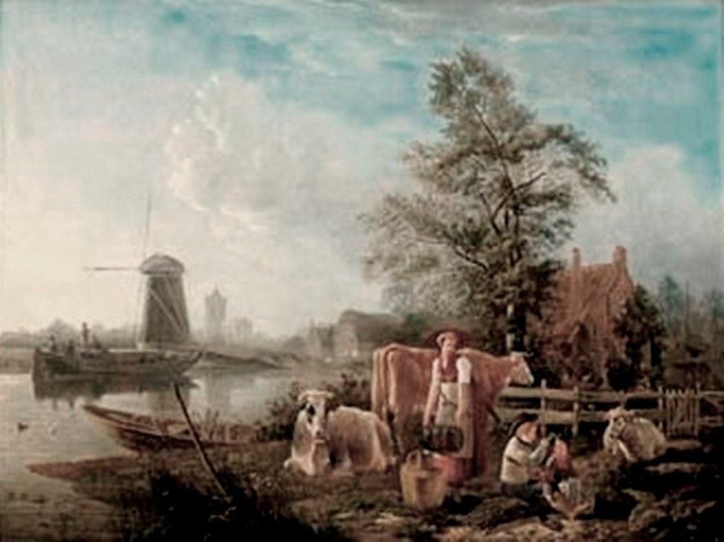 Koningh-Dutch-canal-with-a-milkmaid