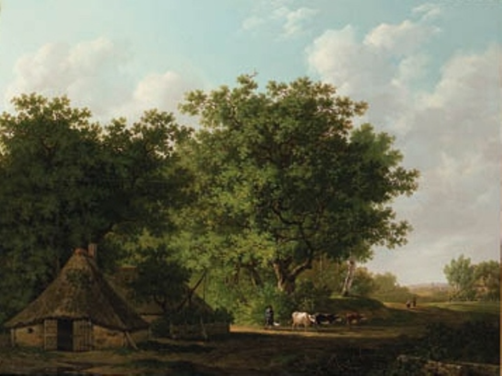 Koogh-A-wooded-landscape-with-a-cowherd-and-cattle-by-a-cottage