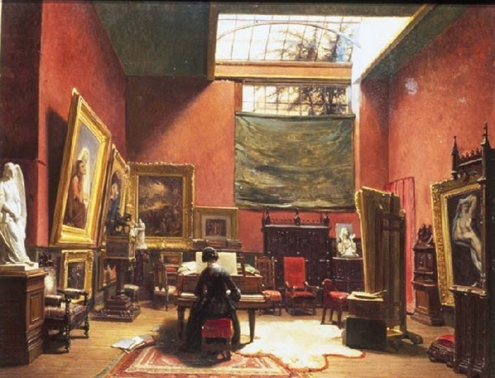 Lamme-Ary scheffer-working-in-his-small-atelier