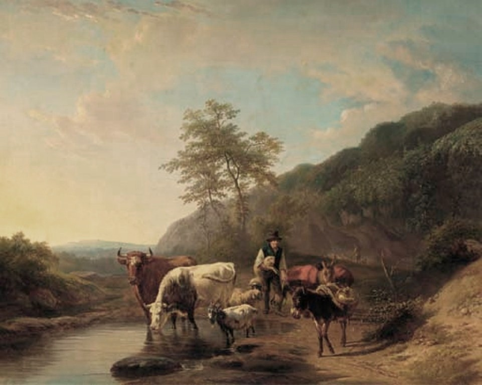 Lebret-A-shepherd-and-his-flock-in-an-Italianate-landscape