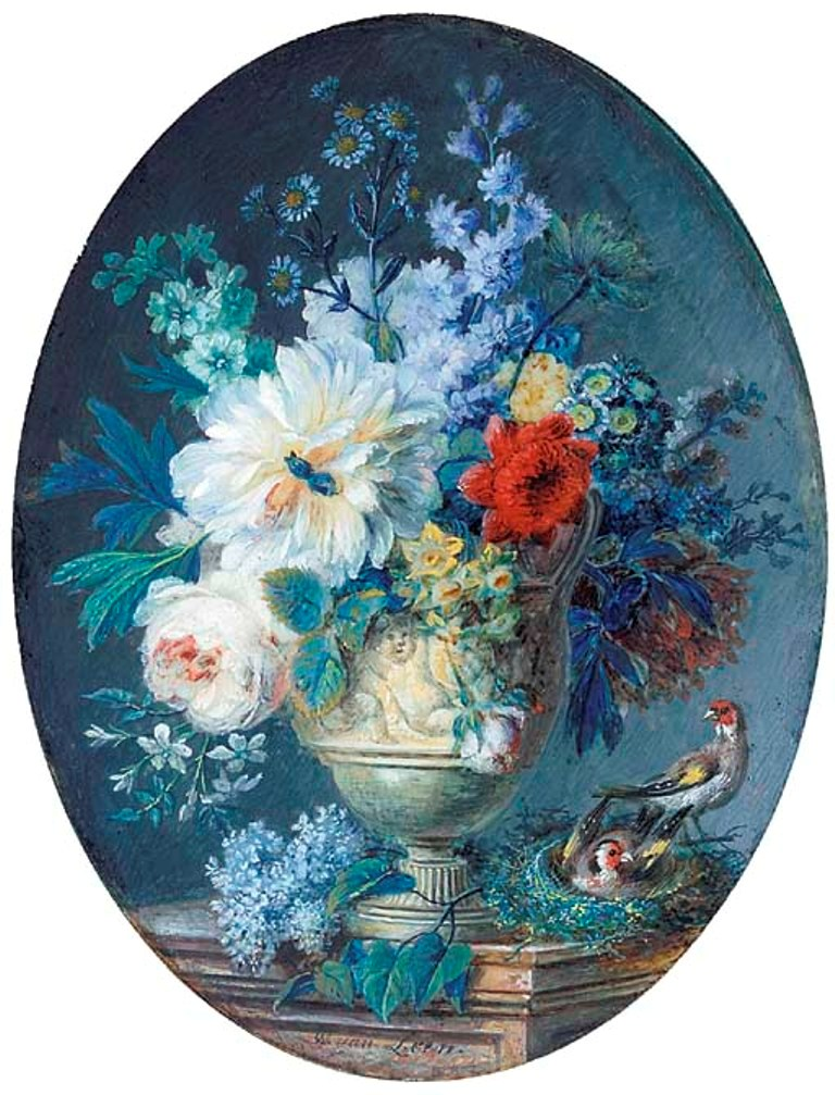 Leen-A-fine-still-life-of-flowers-in-a-stone-vase-sculpted-with-amorini-on-a-stone-ledge