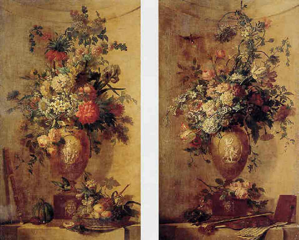 Leen-An-elaborate-still-life-of-flowers-in-an-urn-with-a-basket-of-fruit