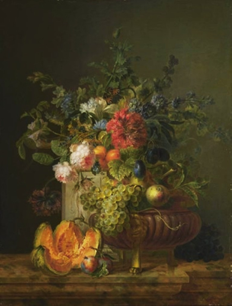 Leen-Stillife-with-flowers-and-fruit