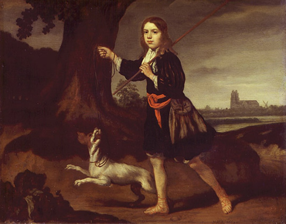 Maes-A-Young-Boy-with-His-Dog-in-a-Landscape