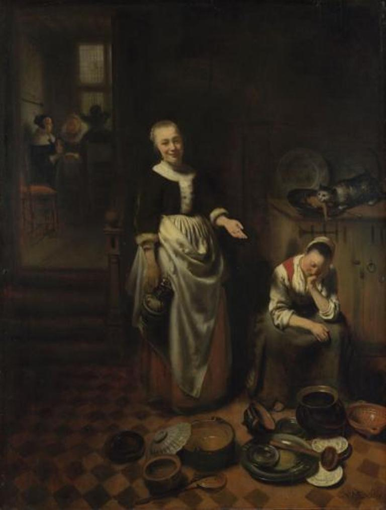 Maes-Interior-with-a-Sleeping-Maid-and-her-Mistress