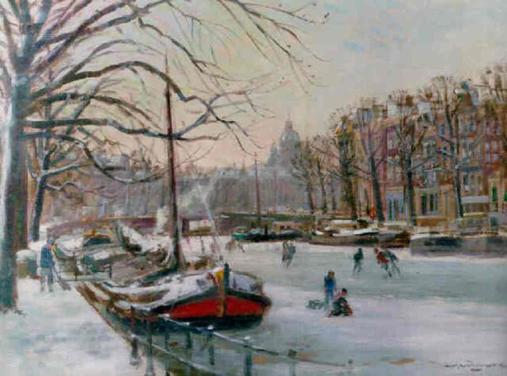 Muhlhaus-Winter-on-a-canal-in-Amsterdam