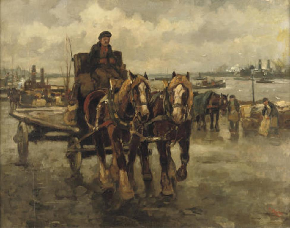 Noltee-A-horse-carriage-in-the-busy-harbour-of-Rotterdam