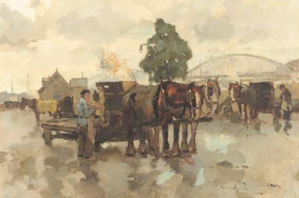 Noltee-Horse-drawn-carts-on-a-quay-the-Maasbrug-in-the-background
