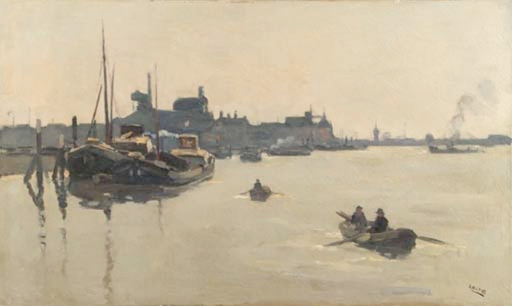 Noltee-Moored-barges-and-men-in-rowing-boats-on-the-Merwede-Dordrecht