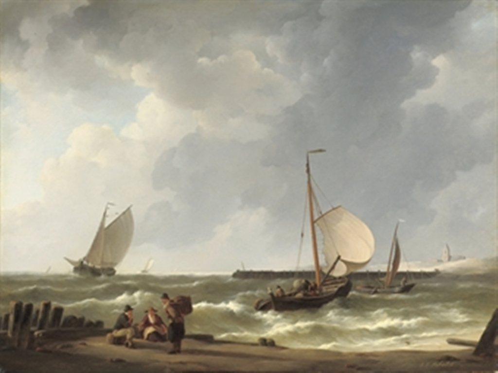 Schotel-Johannes-sailing-vessels-approaching-a-shore