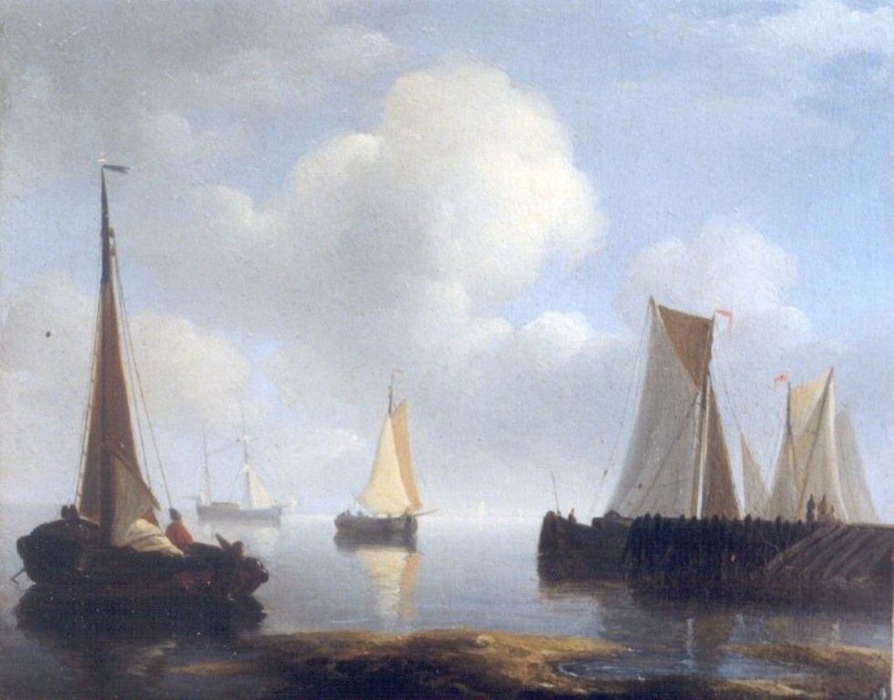 Schotel-Petrus-Sailboats-in-a-harbour-mouth-in-serene-weather
