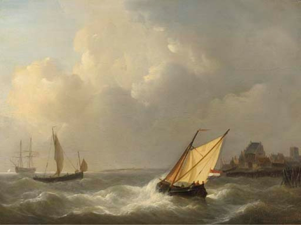 Schotel-Petrus-Sailing-vessels-off-the-coast-on-choppy-waters
