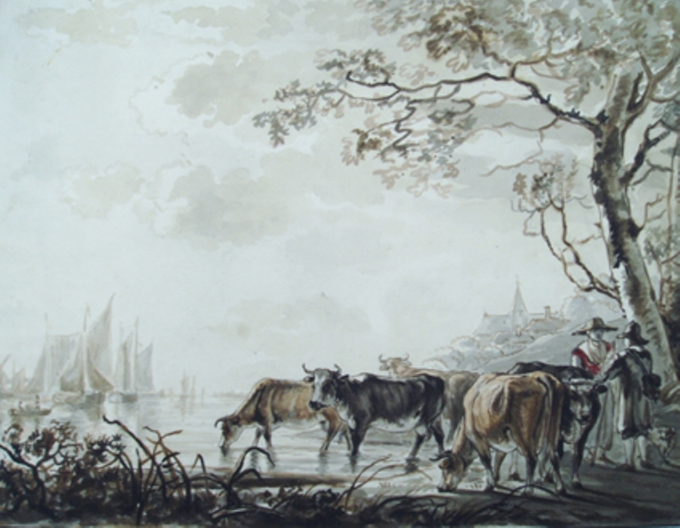 Strij-Jacob-Landscape-with-kows-at-a-river-with-ships