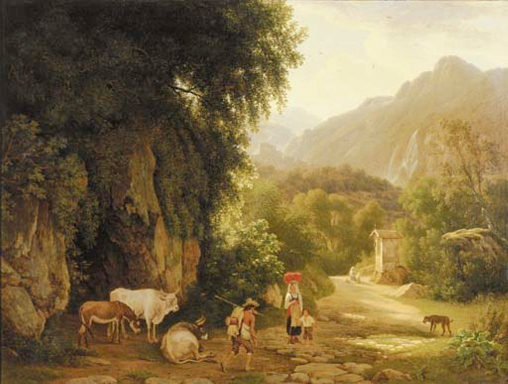 Teerlink-An-Italianate-landscape-with-travellers-and-peasants-on-a-mountain-track-others-praying-in-front-of-a-chapel-beyond