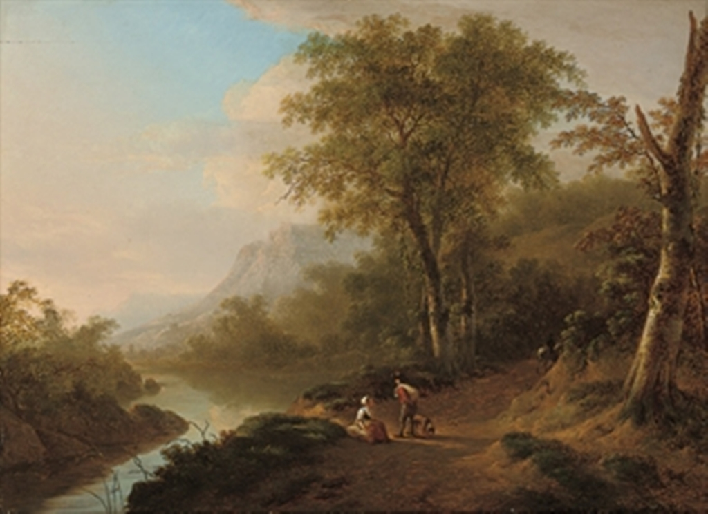 Teerlink-An-Italianate-river-landscape-with-travellers-on-a-track