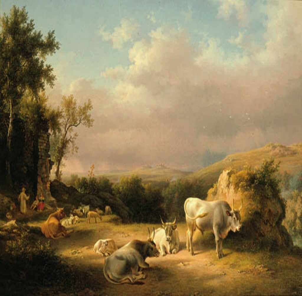 Teerlink-Buffaloes-in-the-Roman-Campagna-at-sunset-with-cattle-shepherds-and-tavellers-by-a-ruined-wall-beyond