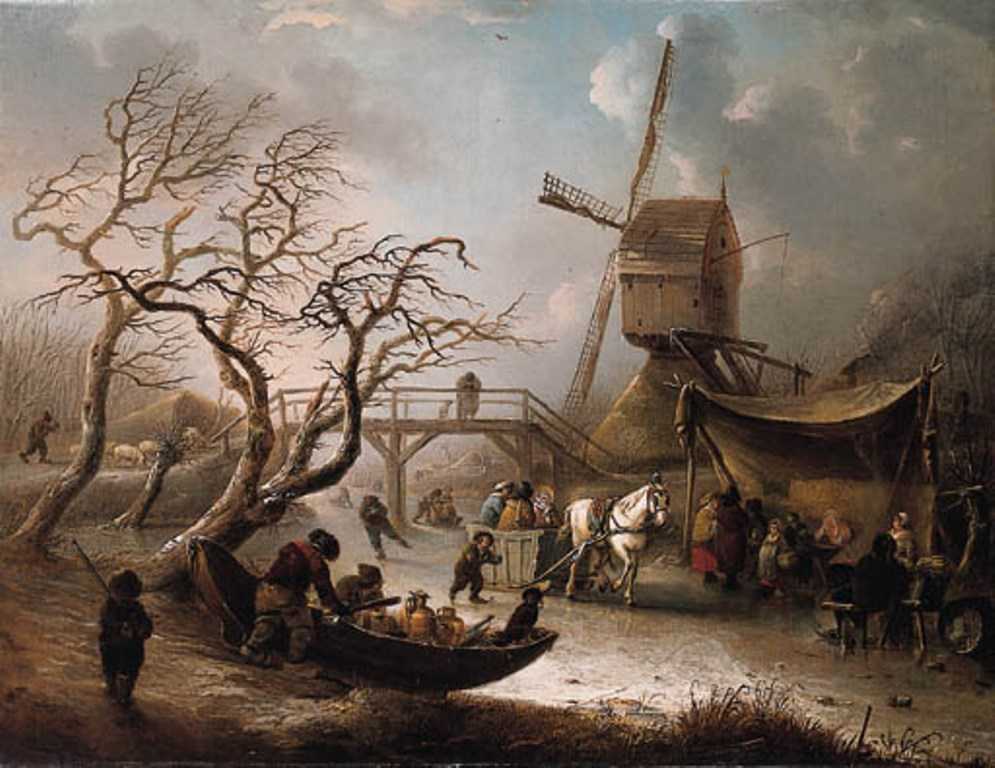 Vermeulen-Andries-A-Winter-Landscape-with-horsedrawn-Sledge-on-frozen-River-and-Villagers-warming-near-Fire-before-Windmill