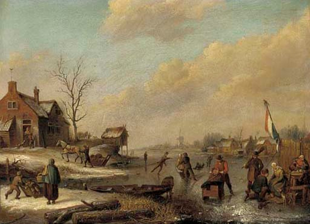 Vermeulen-Andries-A-frozen-river-with-townsfolk-skating-and-sledging