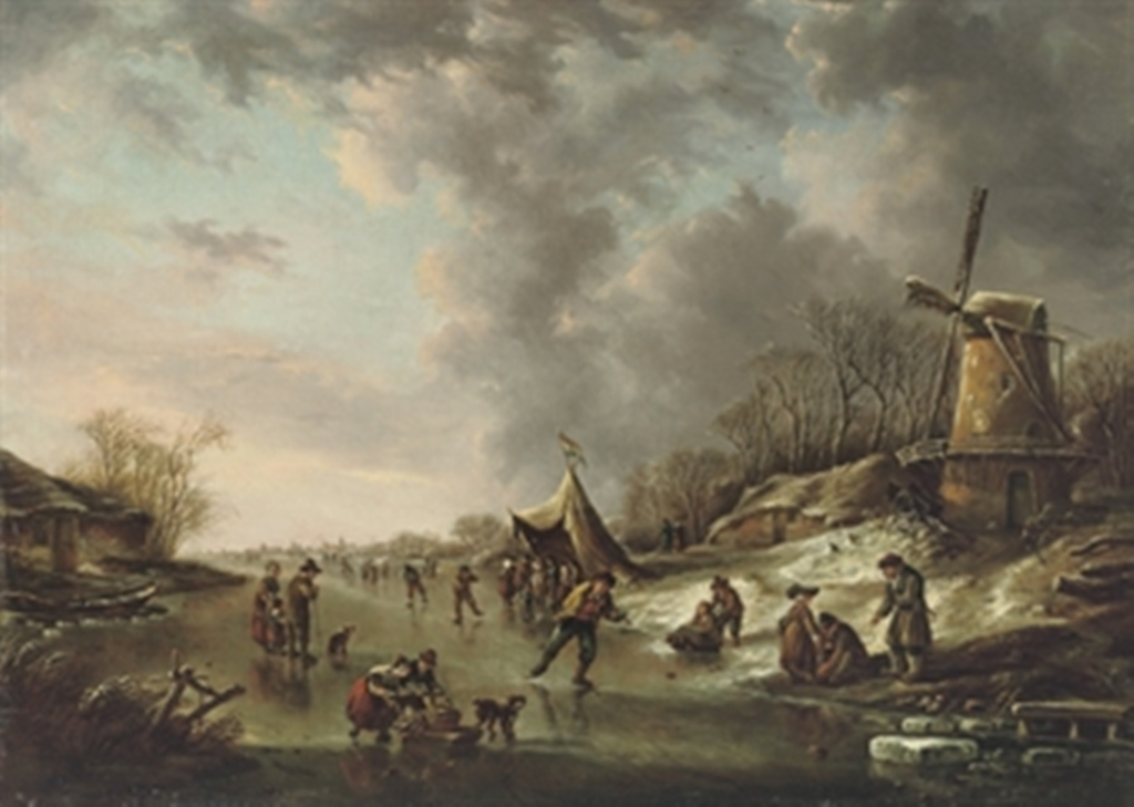Vermeulen-Andries-A-winter-landscape-with-figures-skating-on-a-frozen-river