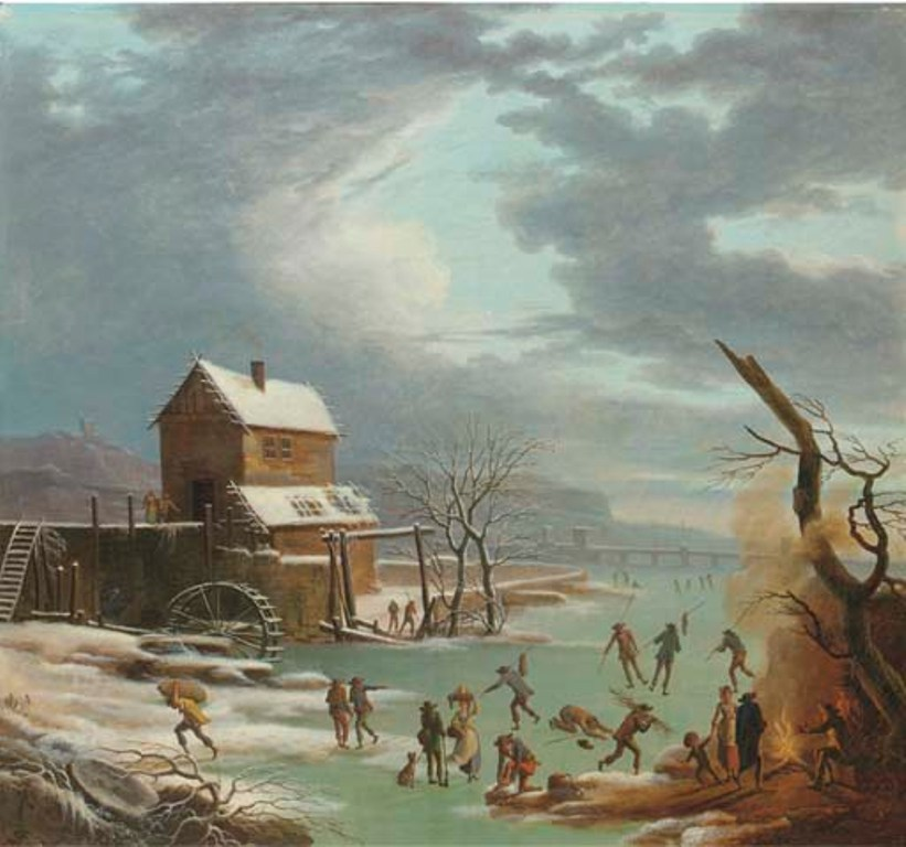 Vermeulen-Andries-A-winter-landscape-with-skaters-on-a-frozen-canal-a-house-with-a-watermill-nearby