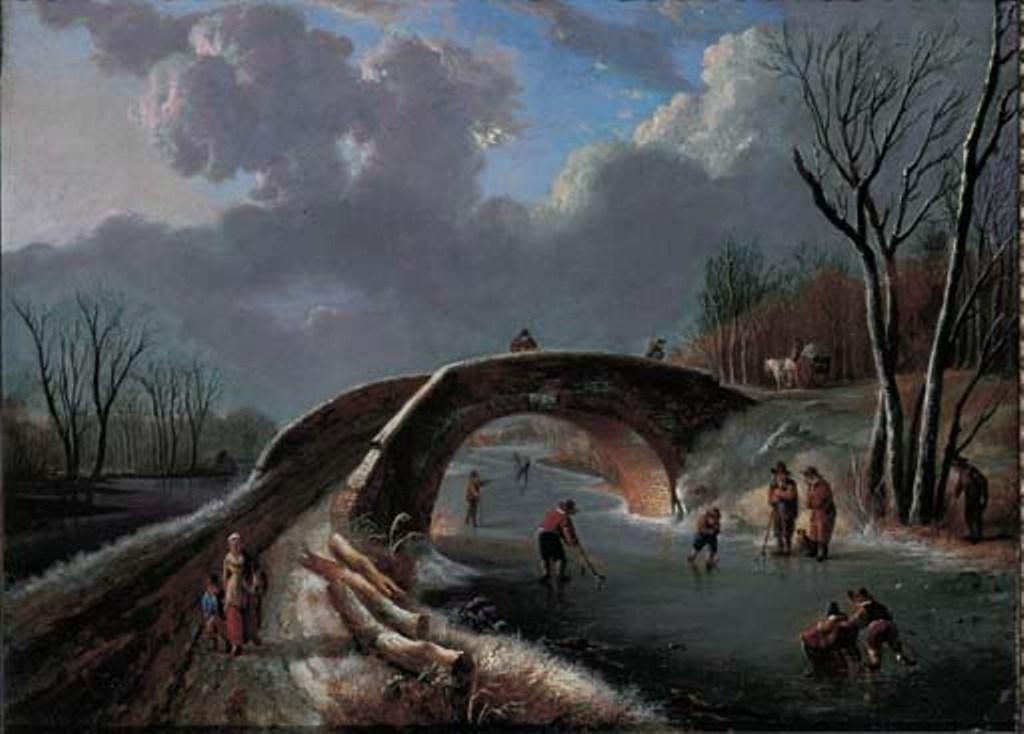 Vermeulen-Andries-A-winter-landscape-with-skaters-on-a-frozen-river