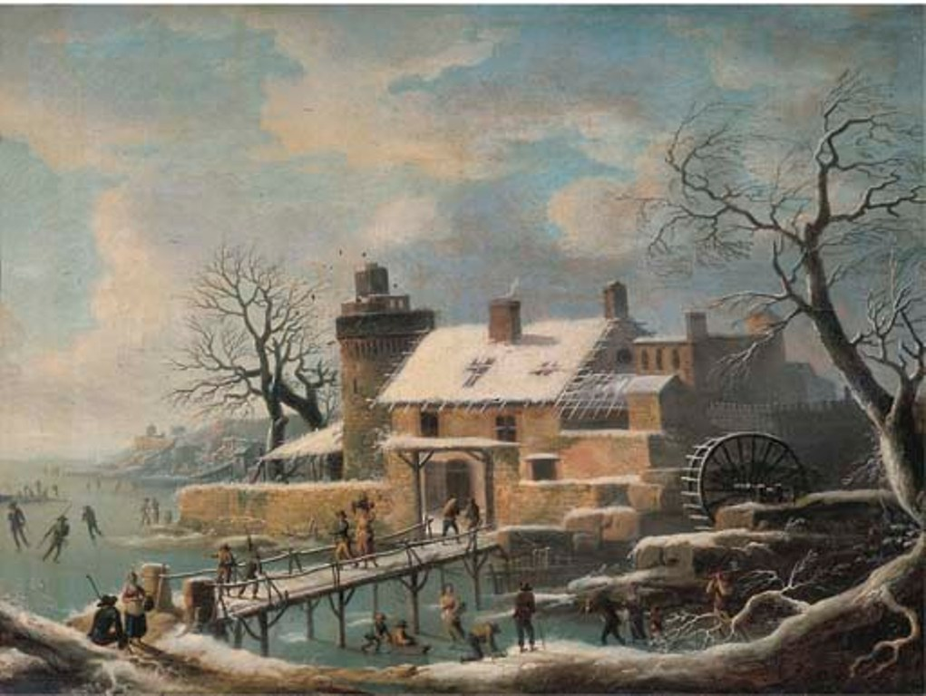 Vermeulen-Andries-A-winter-landscape-with-skaters-on-frozen-water-and-travellers-on-a-bridge-a-village-with-a-watermill-nearby