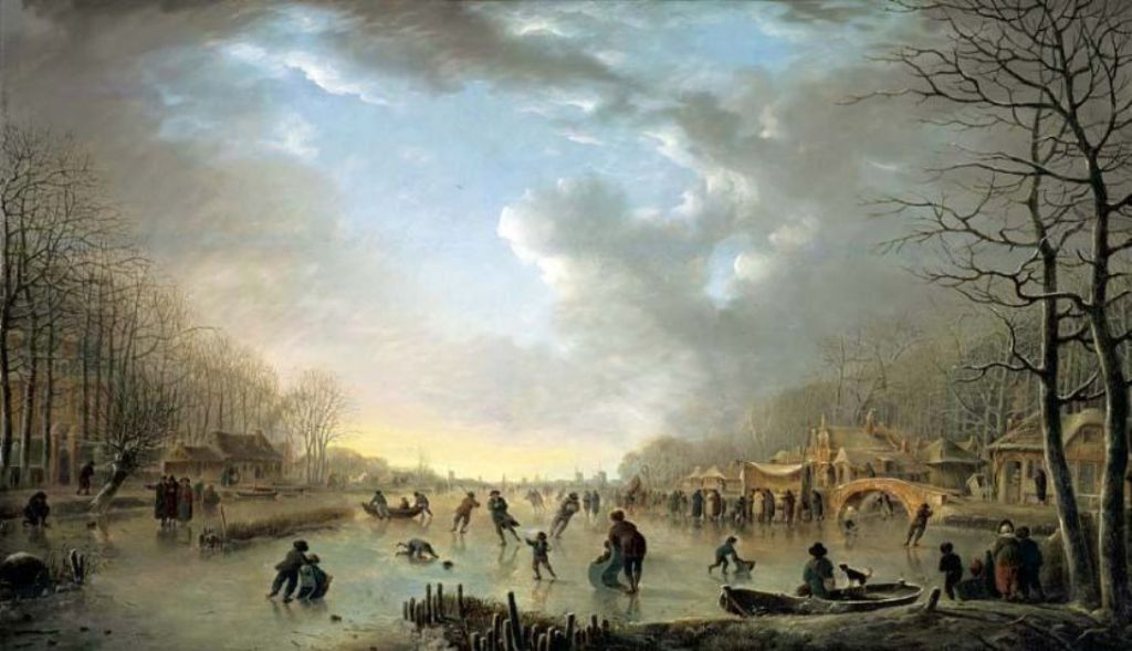 Vermeulen-Andries-Winter-landscape-with-a-frost-fair-and-figures-skating-upon-a-frozen-river