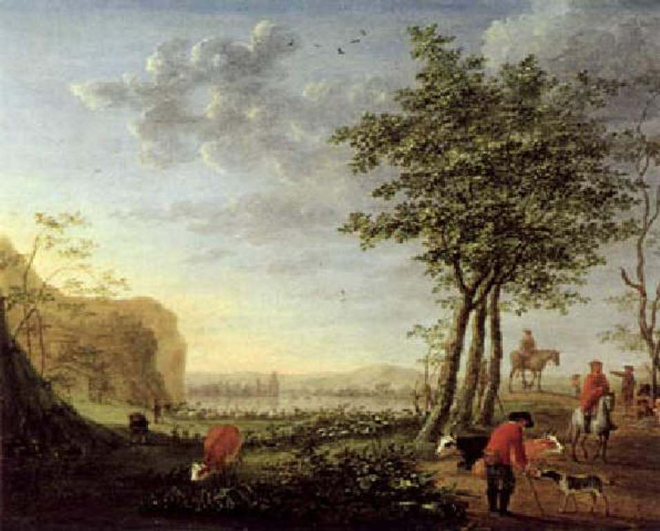 Vermeulen-Cornelis-Width-riverscape-with-horsemen-and-flock