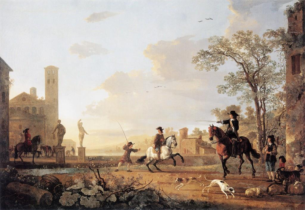 Cuyp-Albert-Landscape-with-Horse-Trainers