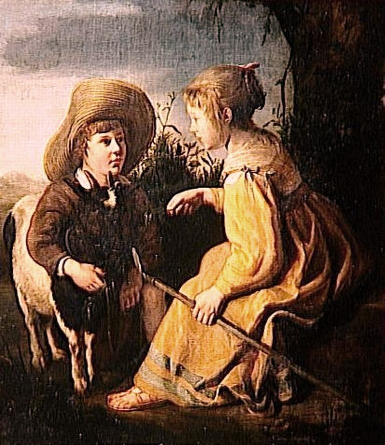 Cuyp-Albert-Portrait-of-boy-and-young-Bergere-Chevre