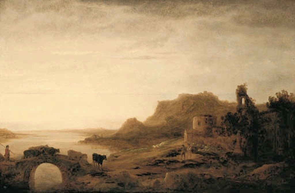 Cuyp-Albert-River-Landscape-with-drover-herding-cattle-over-bridge-and-Shepherds