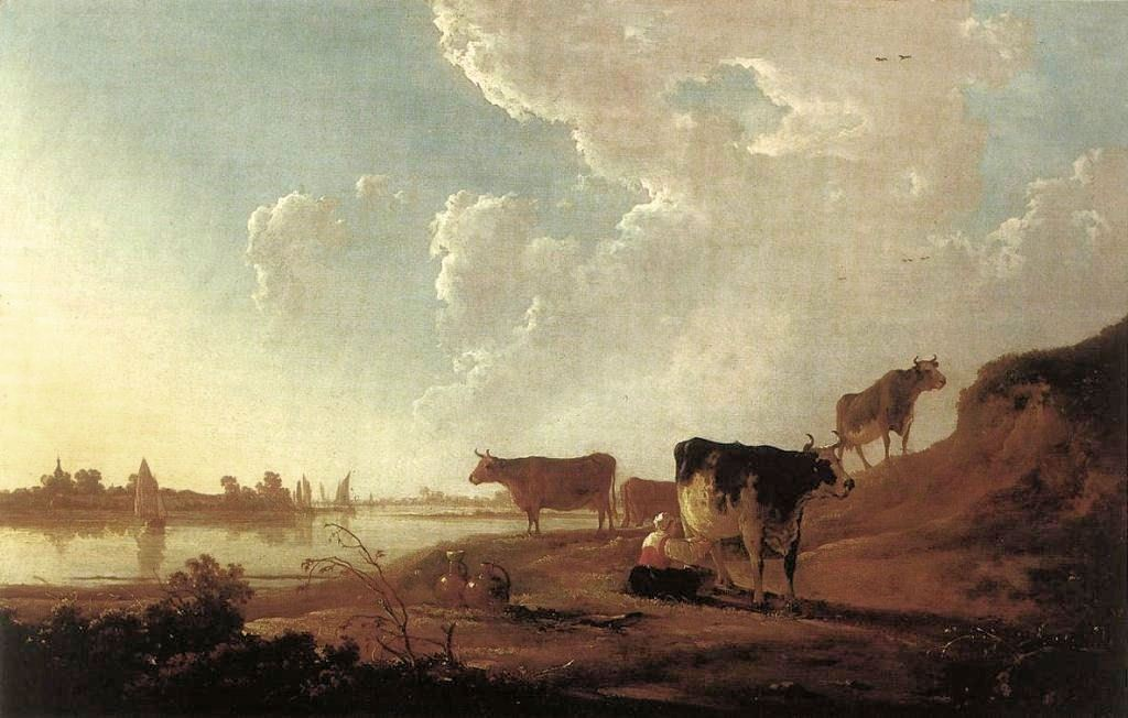 Cuyp-Albert-River-Scene-with-Milking-Woman