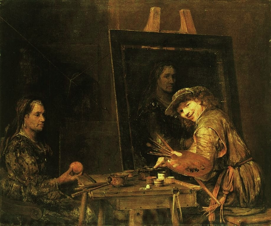 Gelder-Selfportrait-at-an-Easel-Painting-an-Old-Woman