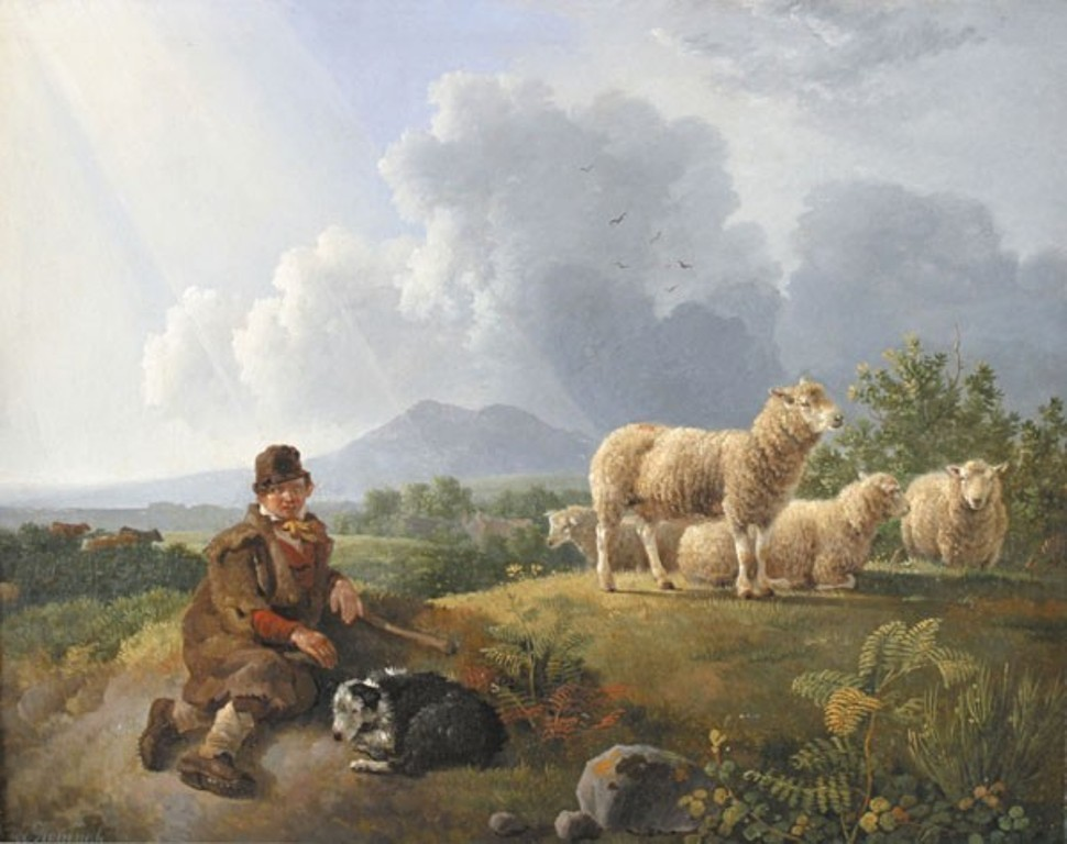 Koningh-Shepherd-in-a-hilly-landscape-with-his-sheaps