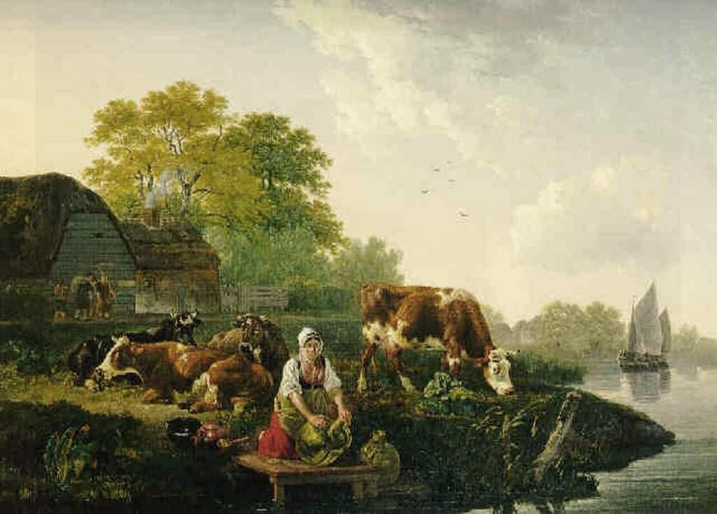 Koningh-Shepperdess-and-her-herd-near-the-river