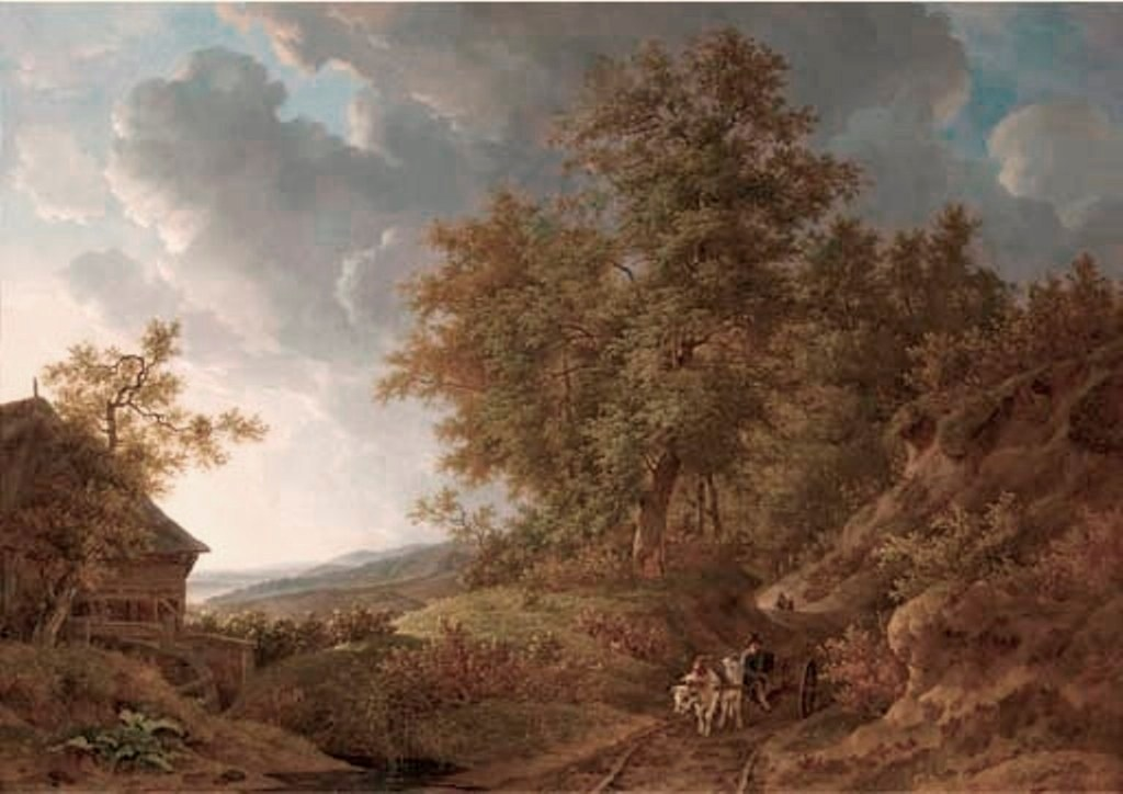 Koogh-An-extensive-rolling-landscape-with-travellers-on-a-sandy-track-by-a-watermill
